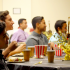 Blayde Demello watches the slide show at the Freshman Banquet 'Hollywood Style' on January 31, 2015 at Keʻeaumokupāpaʻiaheahe Dining Hall.