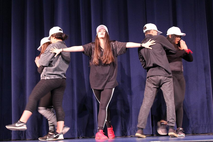 The senior dance crew performs for their entry in the Kamehamehaʻs Best Dance Crew competition at their last Spring Spirit Week at Kamehameha Schools Maui. Led by student choreographer Shaylee Yamashita, the team placed first in this event.