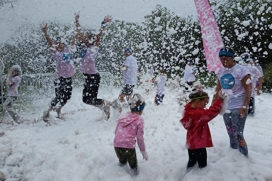 At the end of the course, participants were showered with foam.