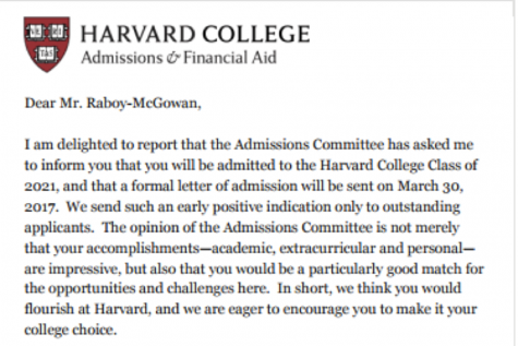 Raboy-McGowanʻs letter of acceptance.