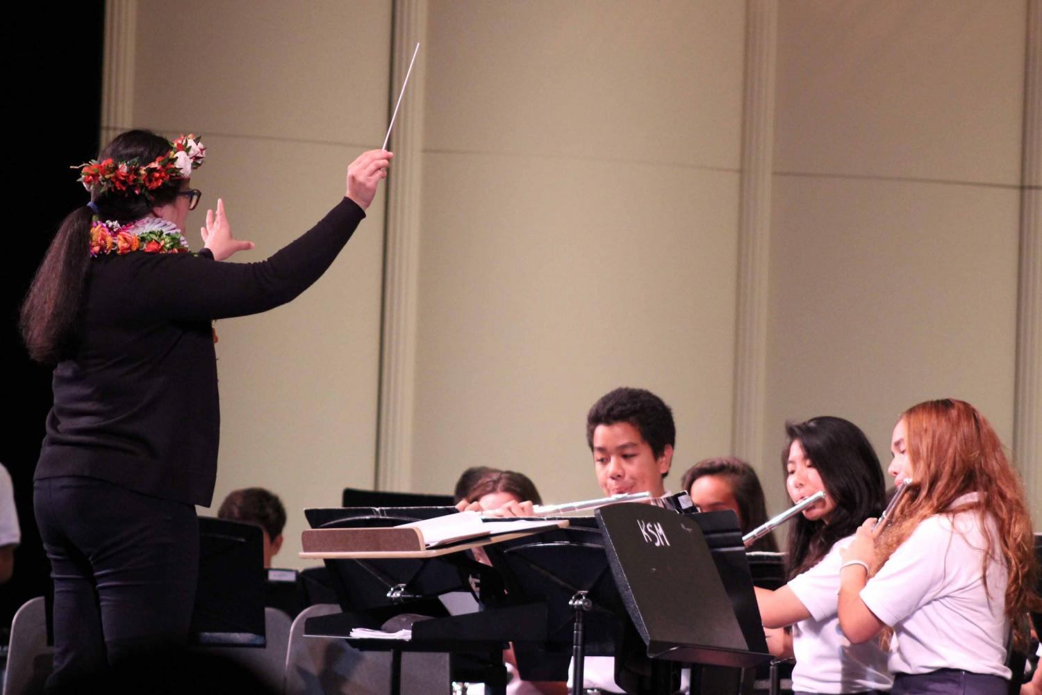Ms. Jamie Kim conducts middle school band members. The Kamehameha Schools Maui Band Program had an end of the year band concert, May 17, at 6:30 p.m. in Keōpūolani Hale.