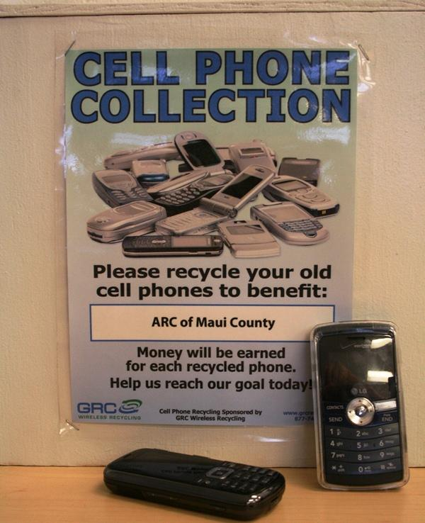 E-cycling cell phones benefits Arc of Maui