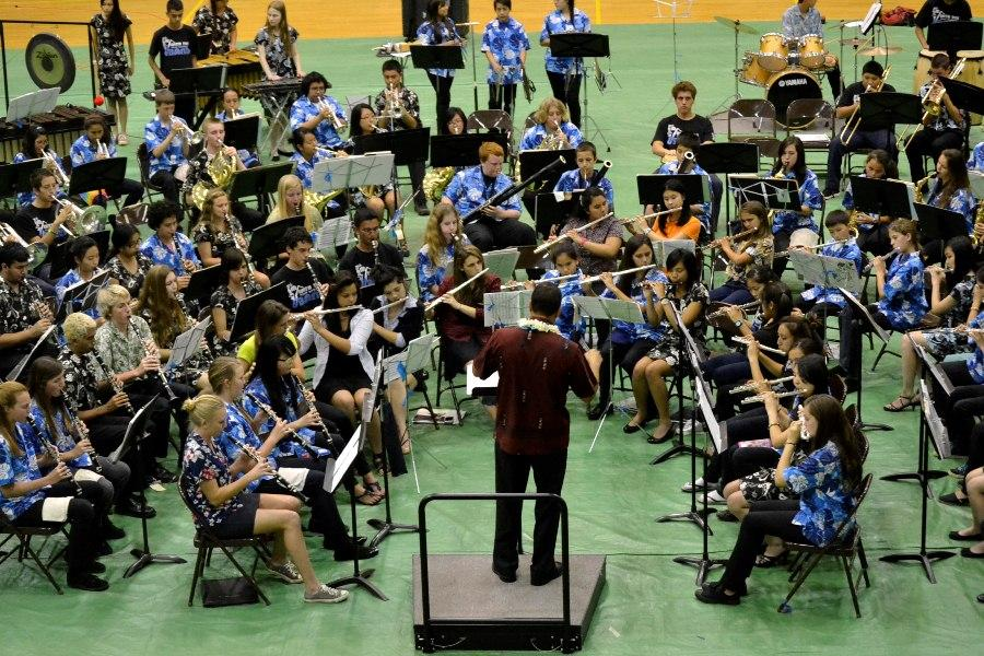 Seabury Hall band director Mr. Richie Franco conducts the mass band at the Inaugural Upcountry Music Festival on Friday, March 30, 2012 at the King Kekaulike Gymnasium. Bands from Kamehameha Schools Maui High School, Seabury Hall, King Kekaulike High School and Kalama Intermediate School each performed pieces individually and joined together at the end of the concert to play six mass numbers.
