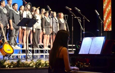 Kahea Arrietta accompanies the High School Chorus at the Christmas Concert in the song Carols, Rejoice! at Keōpualani Hale Dec. 13, 2012.