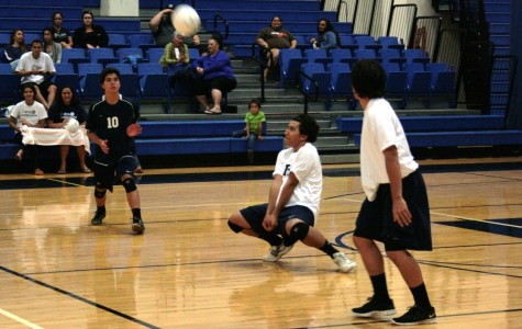 Sophomore Iotana Tua digs at the March 19 volleyball game against Baldwin High School. The Bears won in three close sets.