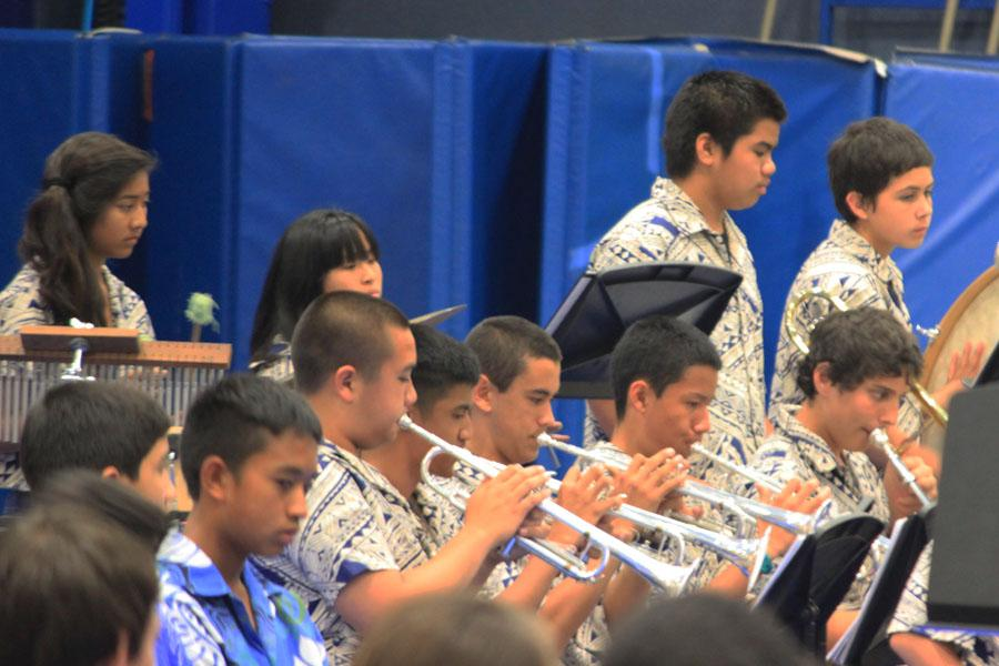 Kamehameha Schools Maui's 8th grade band tunes up the night at the 2nd annual Upcountry Music Festival March 8 at Kahekili Gym.