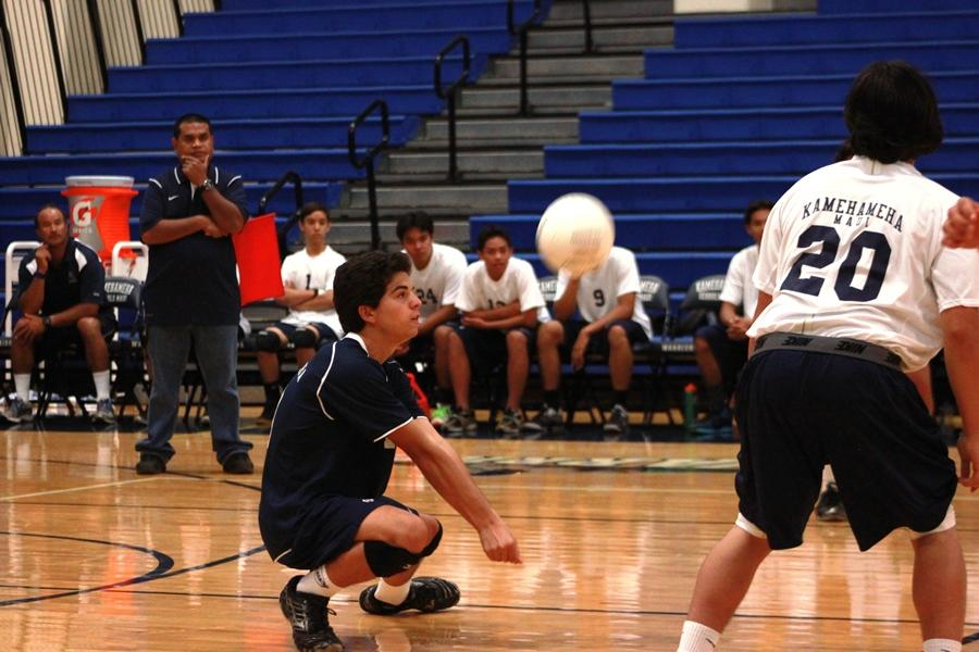 Walter Kaeo digs at Kaʻulaheanui Gymnasium on April 2, 2013. The Warriors won in three sets against the Lahaninaluna Lunas.