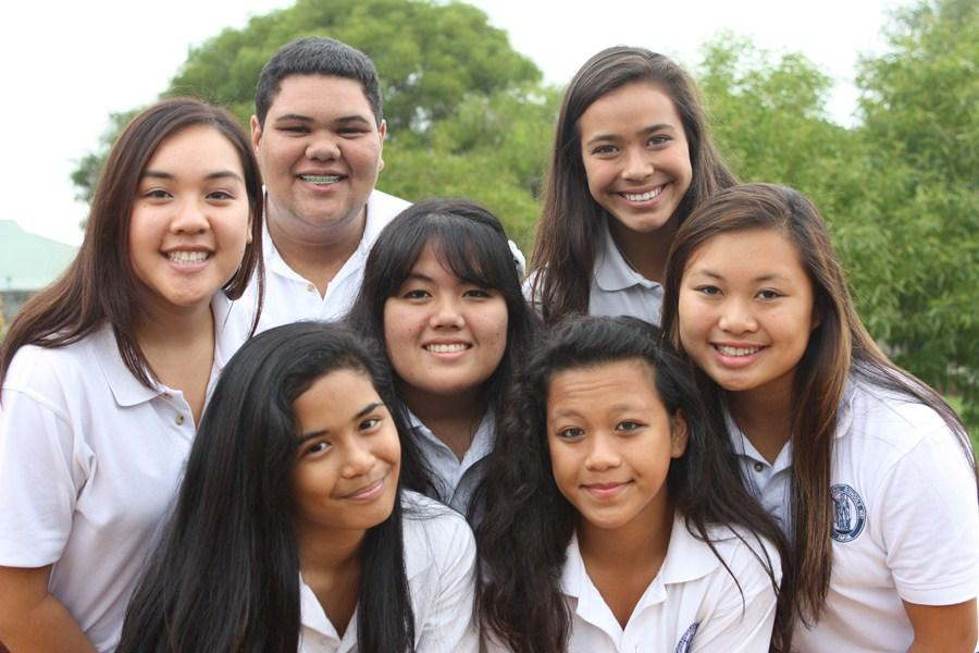 The+award-winning+2012-2013+yearbook+staff%3A+Back+row%3A+Shane+Nae%CA%BBole+and+Maile+Sur.+Middle+row%3A+Kamalei+Batangan%2C+Kyana-lei+Yamada%2C+and+Shai+Ibara.+Front+row%3A+Destinee+Murray+and+Whitney+Reyes.