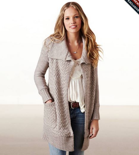 American+Eagle%27s+Shimmer+Stitch+Sweater+Coat+in+Brown+Heather+for+%2489.95.