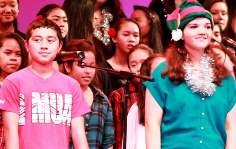 Brennan Mendez (eighth grade) and Pualalea Barrows (senior) both had solos in 'O Holy Night,' the last song at E Oliʻoli Kākou: A Christmas Concert at Keōpūolani, Dec. 12, 2013.