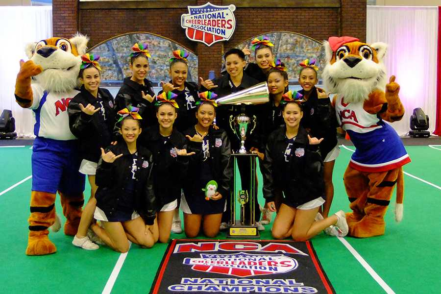 The+KSM+Warriors+with+the+championship+trophy+and+NCA+mascots+after+the+award+ceremony+at+the+2014+NCA+National+Championships+in+Dallas%2C+Texas+at+the+Dallas+Convention+Center.