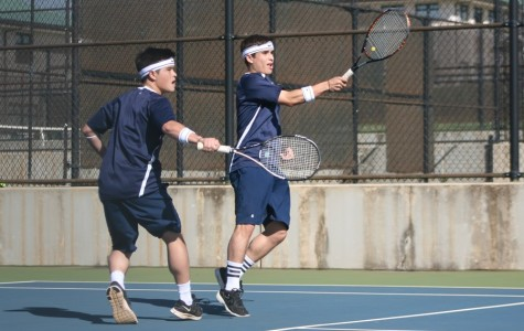 The Alo Brothers, junior Micah (left) and senior Chandler (right) won their tennis match against Seabury Hall, 6-4, 3-6, and 7-6 at the Kamehameha courts on March 12.