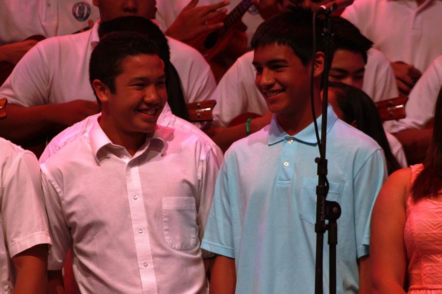 Sophomore Mahonri Aiwohi and freshman Kealaula Kealiikoa had fun while performing the combined ensemble song,