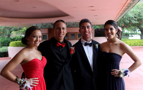 Mele AhYou, Mitchel Dutro, Lucas Park and Emma Yen arrive dressed in formal spy-theme dress at Final Countdown, the senior ball, last night, April 5, 2014, at the King Kamehameha Golf Club.