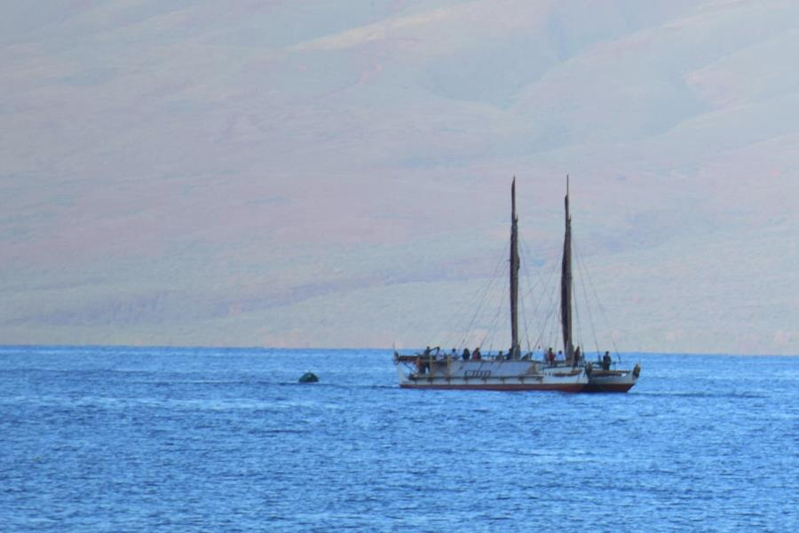 The Hōkūleʻa resting out in Lāhaina Harbor on its visit to Maui, May 18, 2014.