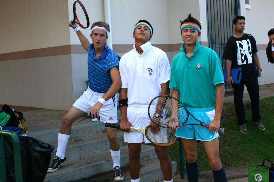 Seniors Austin MacArthur, Spencer Shiraishi and Taylor Lee sport short shorts and knee socks as typical tennis players from the '70's on Throwback Thursday. Students dressed up in costumes, homecoming shirts, and color-coordinated shirts this week to show their spirit and add points to their class total.