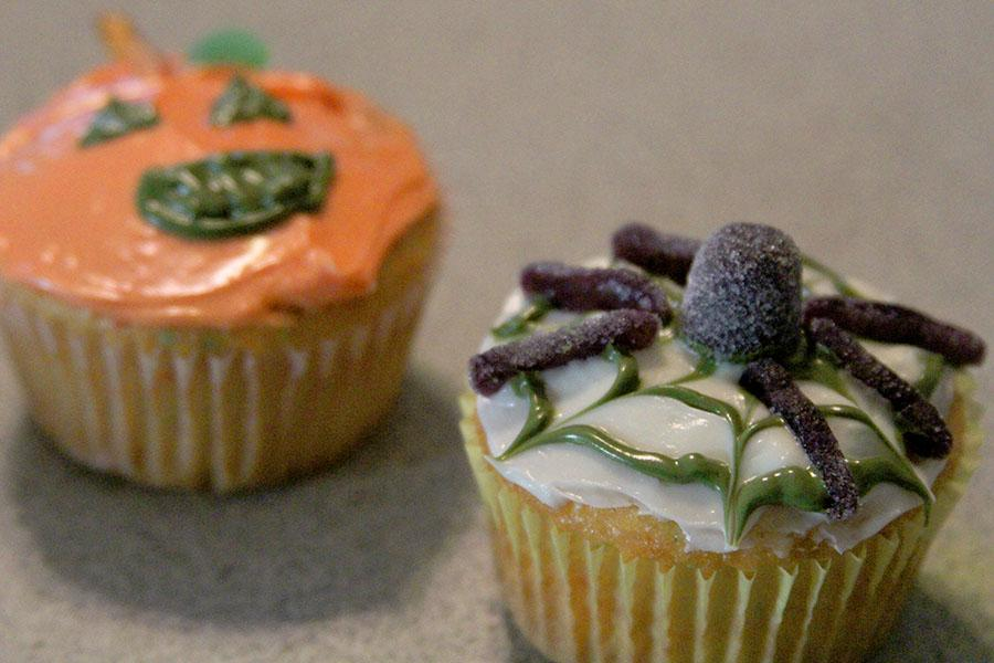 Jack-o-Lantern and Spider web cupcakes are spooky fun, and easy, too, with store-bought cake mix and icing.