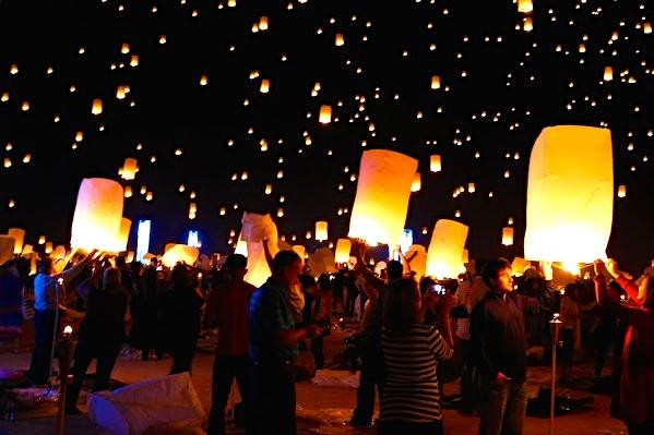 Tens of thousands of lanterns carry messages, hopes and dreams into the desert night sky in Mojave, Nevada, Saturday, Oct. 18, at the first U.S. RiSe Lantern Festival. Alumnus Kyle Deeley ('10), was in attendance and shared his photos and experiences with us.