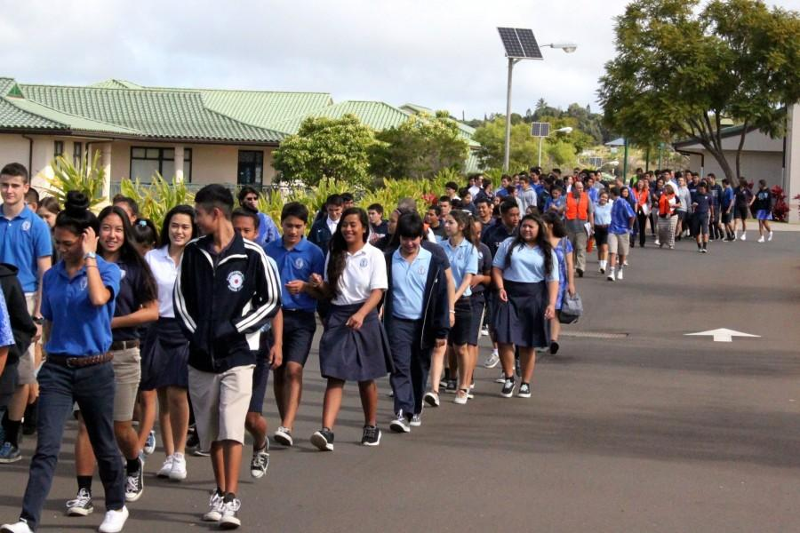 Following+second+period%2C+the+high+school+students+were+led+down+to+Kana%27iaupuni+Stadium+football+field+for+the+first+ever+school+evacuation+drill+on+Wednesday%2C+December+17.