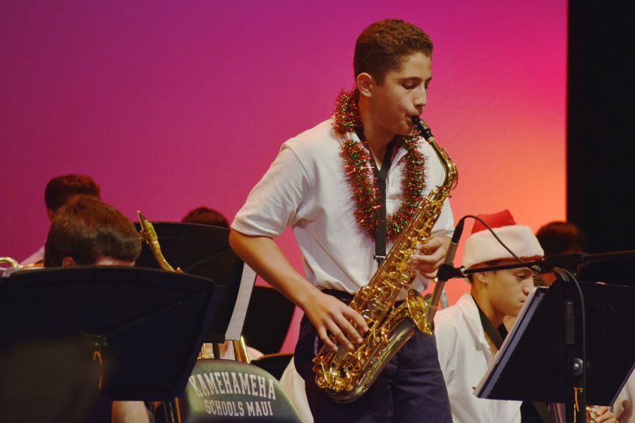 8th+grader+Makana+Saito-Takabayashi+performed+solos+the+entire+night+impressing+the+audience+with+his+talent+from+three+years+playing+the+saxophone+at+the+Winter+Band+Concert+in+Ke%C5%8Dp%C5%ABolani+Hale+last+night.