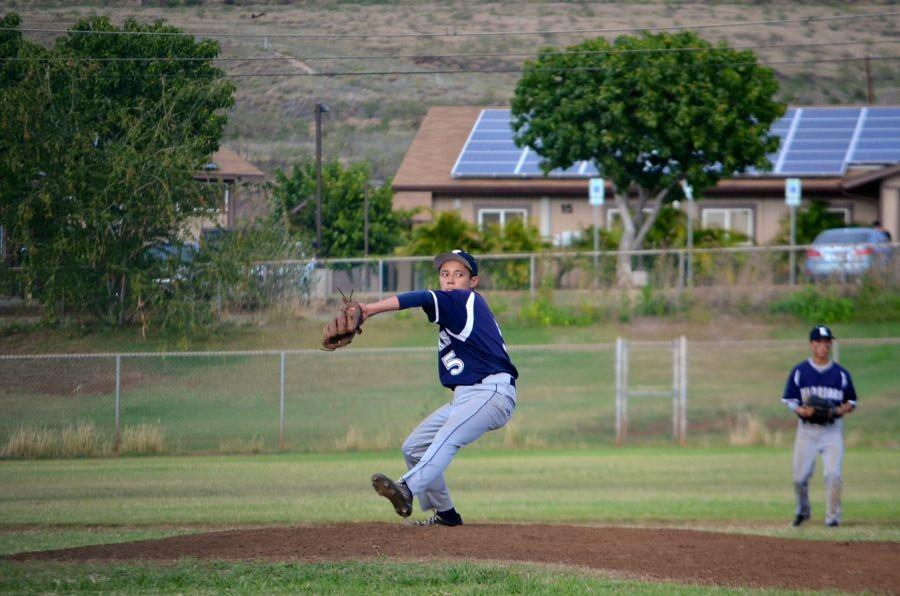 Freshman pitcher Logan Cabanilla-Aricayos throws in the jv baseball game agains Lahainaluna, January 28 in Lahaina. The Maui Warriors won 14-4.