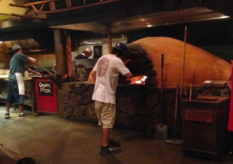 While eating, you watch as your pizzas fire in the wood fire oven.