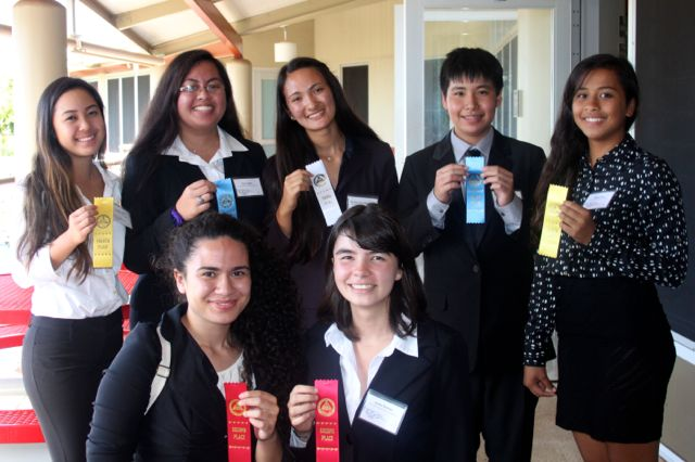 Health Occupations Students of America members Kandace Ota, Tiare Laufou, Sky Chun-Matsukawa, Dylan Falces, Delissa Rano, Joelene Kuaʻana, Jaclyn Gorman, and Teʻa Monden (not pictured) all placed at the Maui district competition at Lahainaluna High School on Monday, January 19.