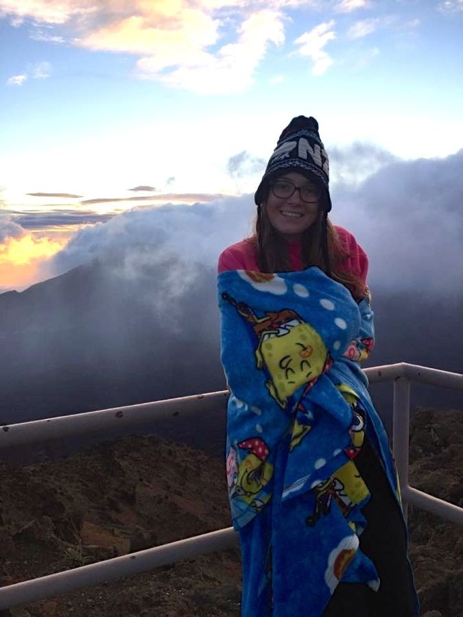 Mathilde Meier smiles while up at Haleakalā