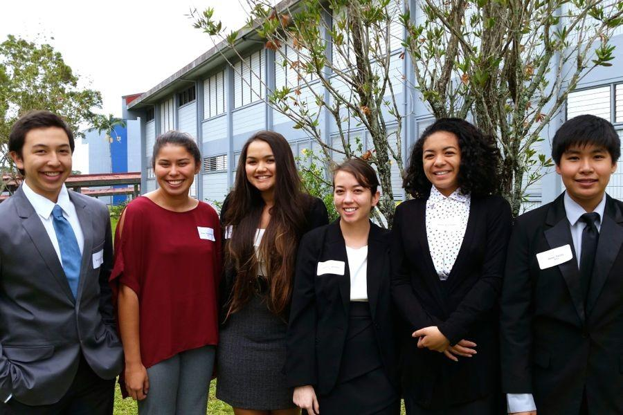 Elijah Tabion, Brissa Christophersen, Ilena Burk, Madison Williams, Makayla Imaoka, and Dylan Falces. KSM students placed fourth at the Academic Decathlon at Waiakea High School, March 7-8.