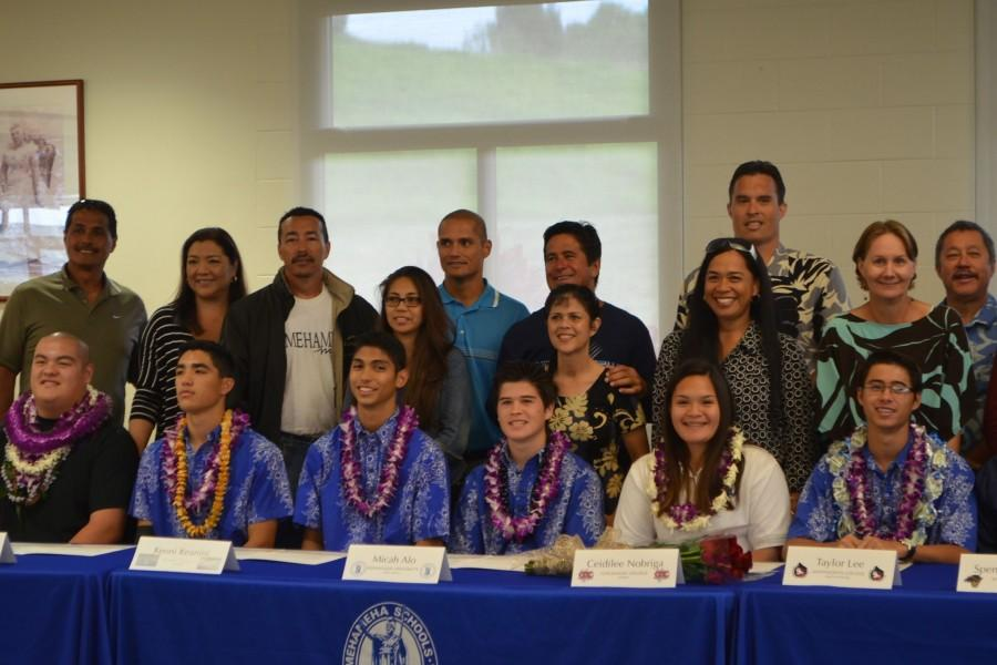 The seniors signed their National Letters of Intent committing them to play collegiate sports on Wednesday April 15 in the Charles Reed Bishop Learning Center.