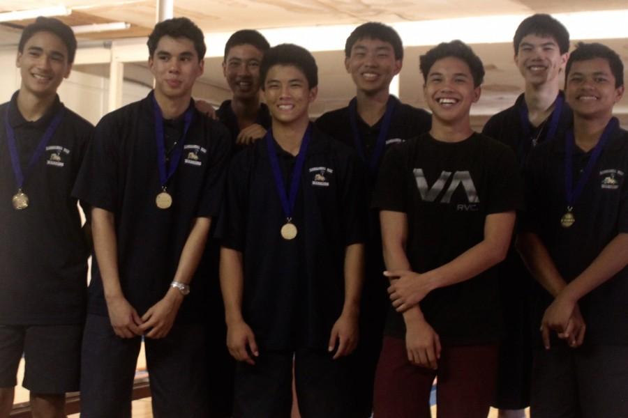 The KS Maui boys bowling team won their individual playoff against Baldwin on Saturday, October 24. From left: Aisake Fakava, David-John Fernandez, Li Furukawa, Russell Nagamine, Lukela Kanaʻe, John