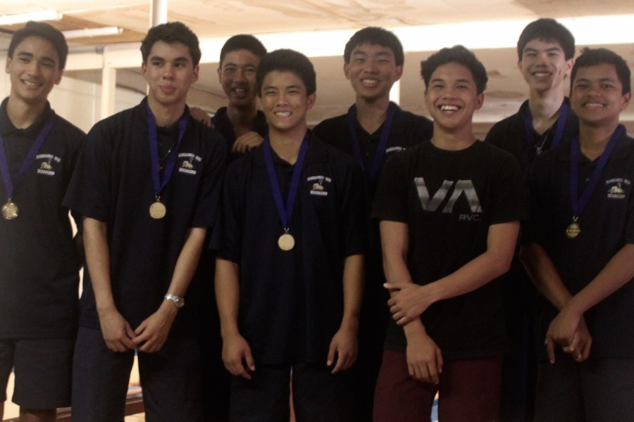The KS Maui boys bowling team won their individual playoff against Baldwin on Saturday, October 24. From left: Aisake Fakava, David-John Fernandez, Li Furukawa, Russell Nagamine, Lukela Kanaʻe, John