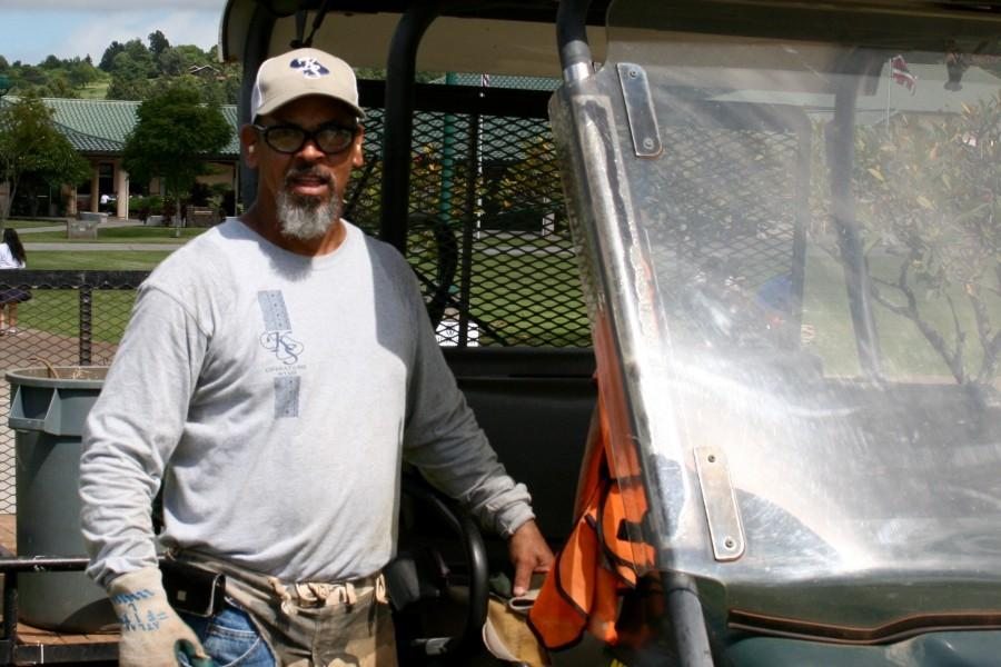 Mr. Bruce Omalza is one of the groundskeepers at Kamehameha Maui that helps to keep the campus clean and at its best for students.