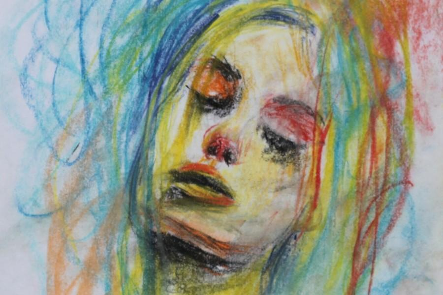 Nemoto-Oshitas+colorful+depiction+of+a+woman+she+did+using+oil+pastels.