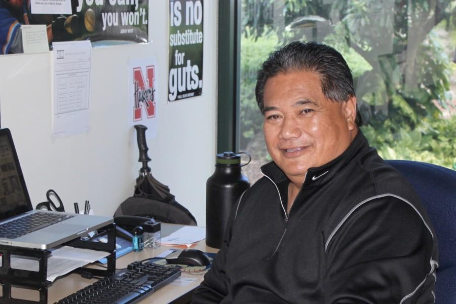 Academic+counselor+Ulima+Afoa+in+his+new+position+on+the+high+school+campus+of+Kamehameha+Maui.+Coach+Afoa+brings+much+experience+to+help+KS+Maui+student-athletes+both+here+and+in+making+the+transition+to+college.