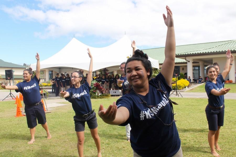 Junior Kaena Wojcieski is front and center during a Hawaiian Ensemble and Ka Pā Hula o ʻAʻapueo hula performance at the 20th Anniversary Pōʻalima 'Ulaʻula on Feb. 19.