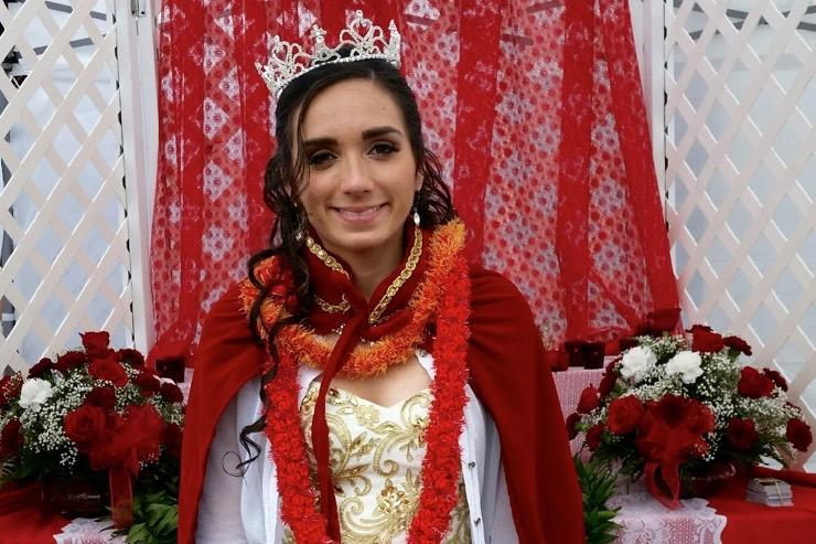 Senior Chrystal Cardoza is crowned as the Holy Ghost Feast Queen by Holy Ghost Catholic Church for her service and role as a leader in her church and community.