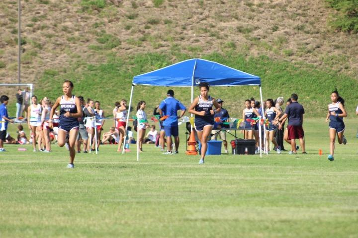 The three girls relay teams take off as they each begin their portion of the run back-to-back!