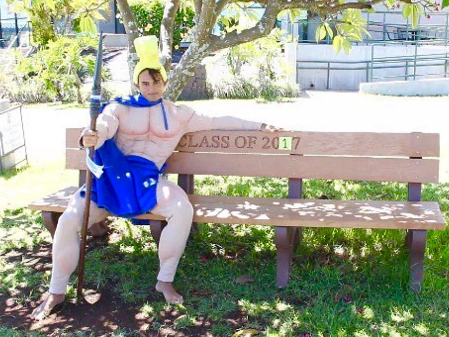 Quinn Hottendorf, @beachorwhut, is Kamehameha Maui's new Warrior mascot.