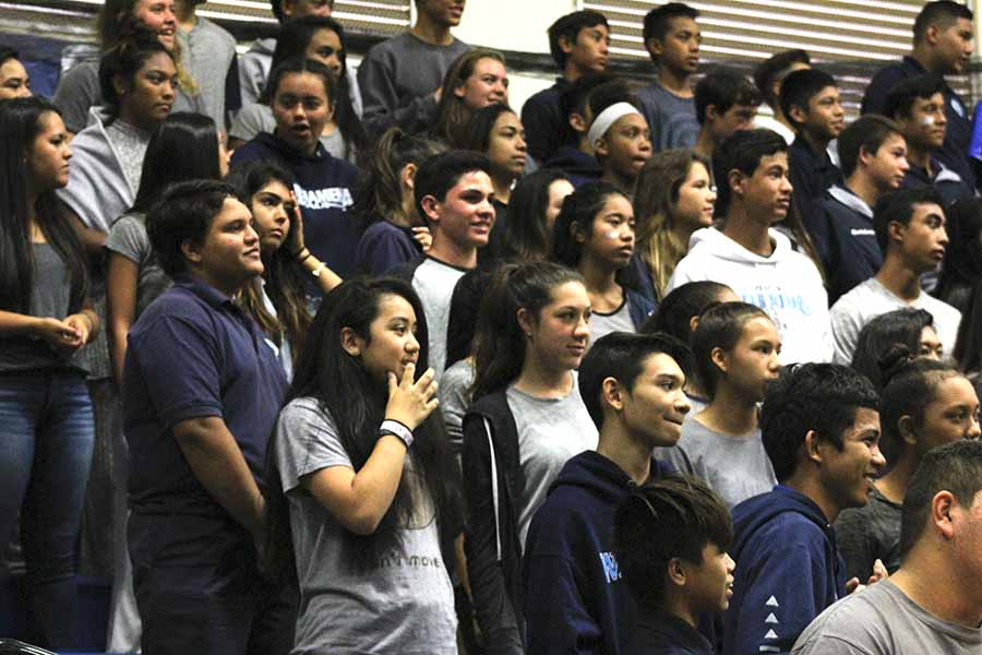 Freshmen stand ready for the next event at Monday's pep rally. Poor pacing, a tricky sound system, and uninterested students  resulted in many of these wait-and-see moments and marred the kick-off gathering.