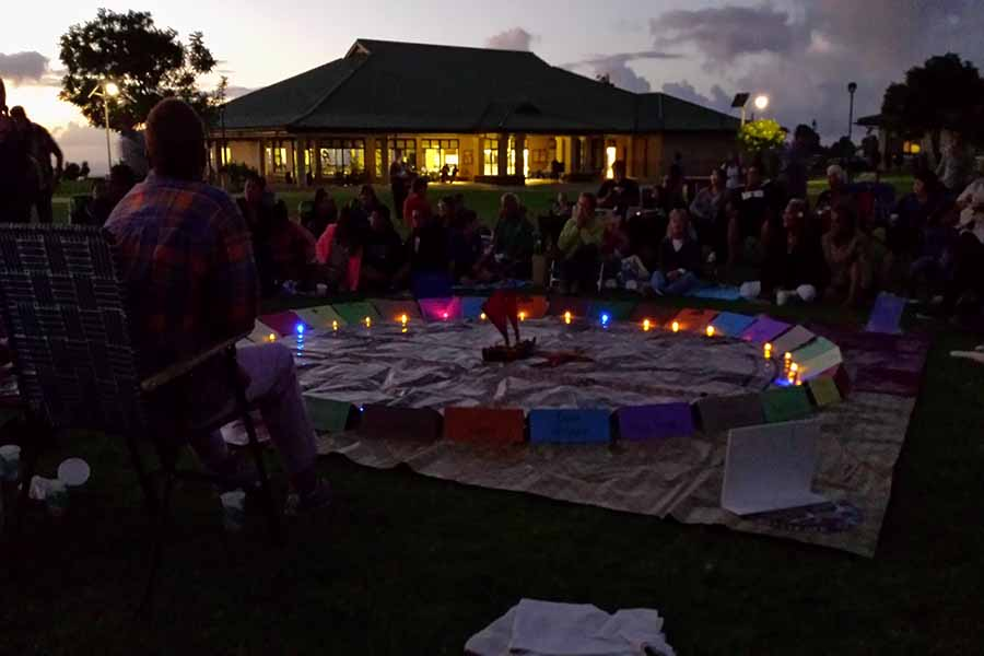 A Polynesian star compass is laid out on the quad of Kamehameha Schools Maui.  Students, staff, and members of the public were invited to learn from Pāʻanakalā Baybayan-Tanaka about voyaging, star navigation, and expanding lāhui as part of the schoolʻs Huliau Film and Lecture Series, Thursday, Sept. 28.