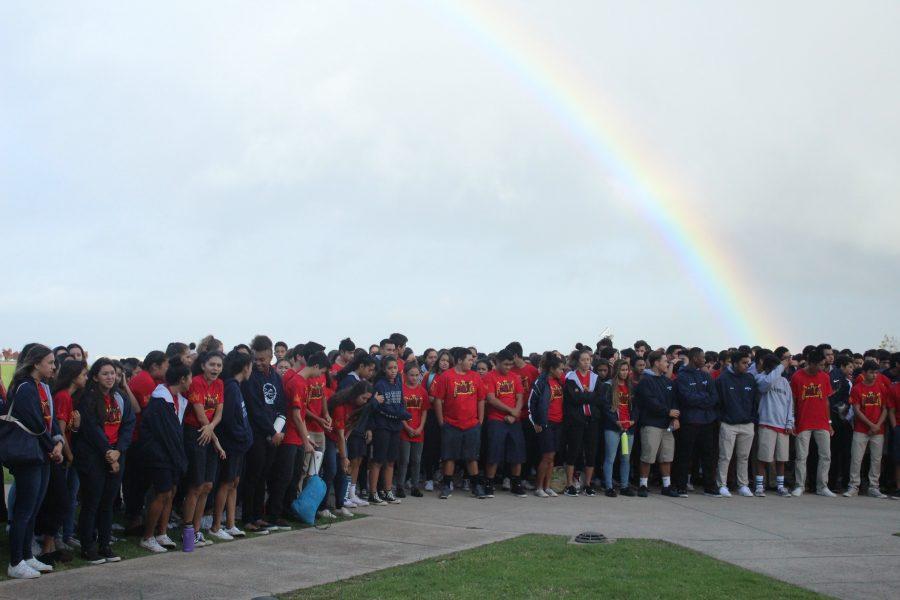 Kamehameha+School+haum%C4%81na+oli+under+a+rainbow+in+the+morning.