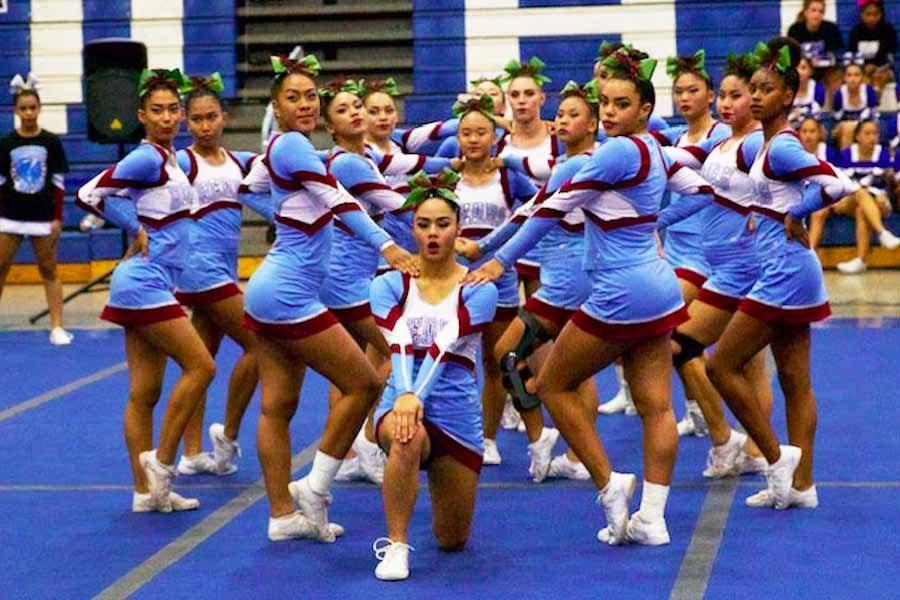 Baldwin High School's varsity cheerleading team breaks KSM's 5-year winning streak at the Maui Interscholastic League Championships, Saturday, Oct. 29, at Maui High School.