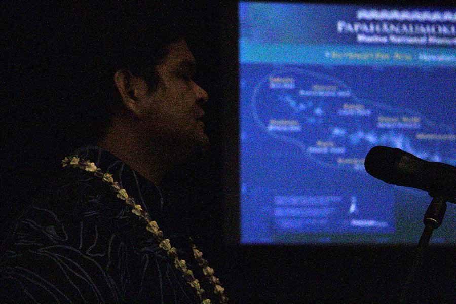Kamehameha alumnus Kalani Quiocho, Native Hawaiian program specialist, speaks at a presentation on Papahānaumokuākea as part of the Huliau Film and Lecture Series, Thursday.