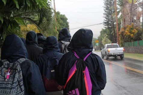 The groups walk to their site destinations in the rain.
