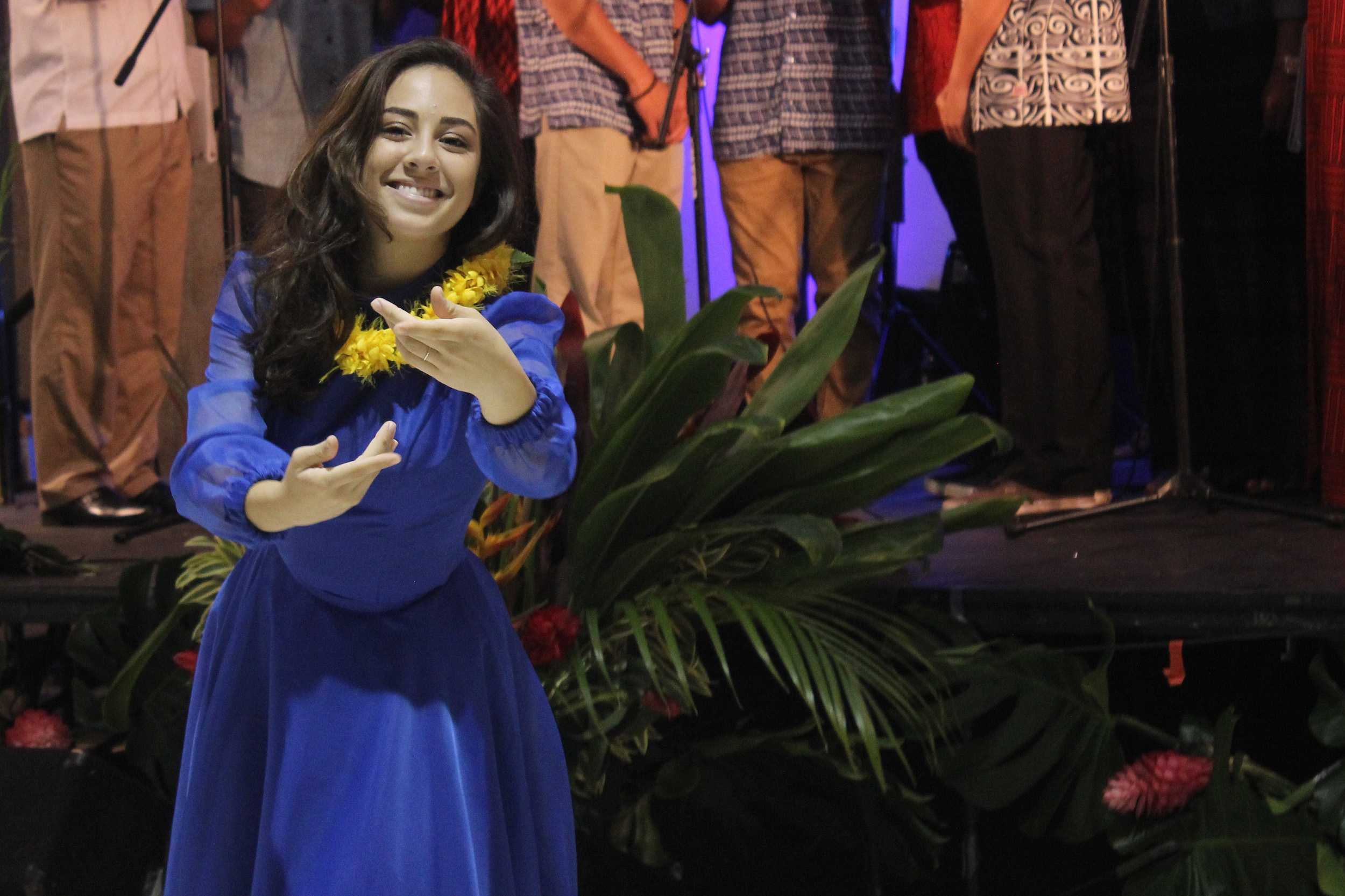 Senior Kaitlyn Evans dances a solo at the Senior Lūʻau, Saturday. The event was held for family and friends of Ka Papa ʻŌhiʻa Lehua to raise money for the classʻs Project Grad.