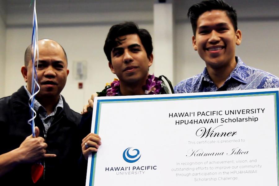 Senior Kaimana Idica is awarded the Hawaiʻi Pacific University HPU4Hawaiʻi Scholarship Thursday, Dec. 15 at Kaʻulaheanuiokamoku Gymnasium.