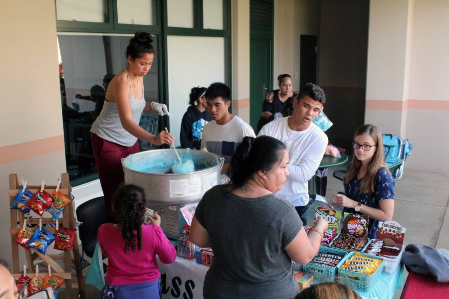 Sophomore+class+representatives+sell+cotton+candy%2C+chips%2C+and+candy+to+raise+money+for+their+class.