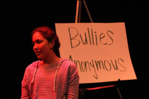 The opening skit of the night sets a humorous tone as junior Taytum Herrick sits in Bullies Anonymous.