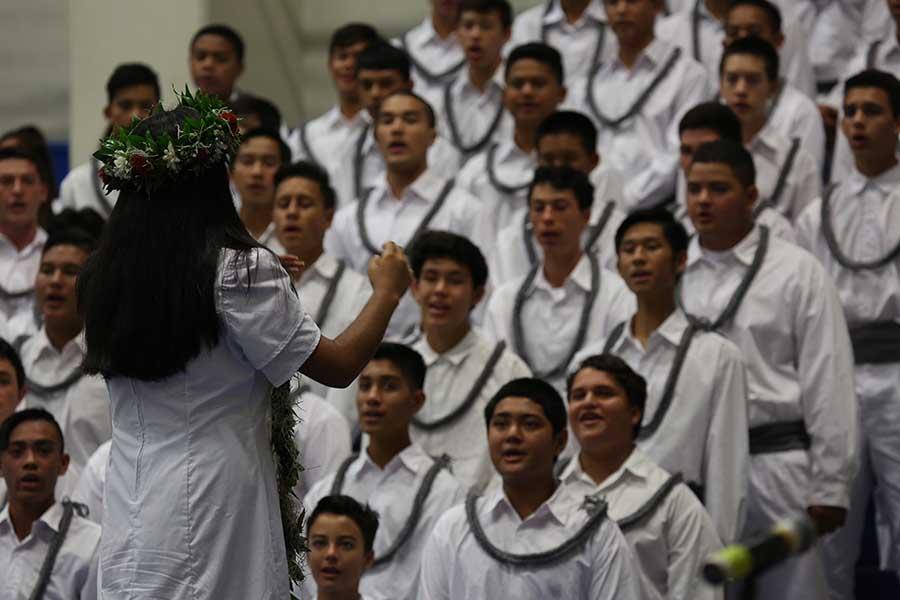 The freshman class sing their class song Kuʻu Wā Liʻiliʻi.